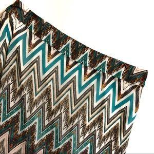 Cato Chevron Tribal Print Maxi Skirt